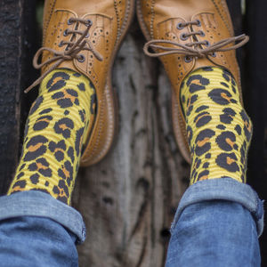 Yellow Leopard Spot Fine Sock