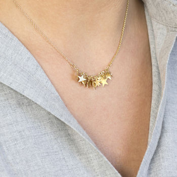Delicate Gold Stars Charm Necklace