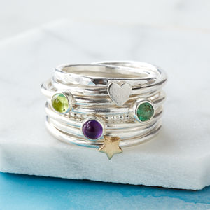Simply Birthstone Sterling Silver Stacking Rings