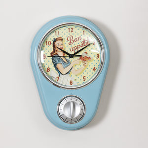 Retro Diner Blue Kitchen Wall Clock With Timer
