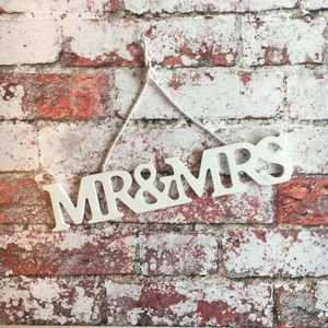 Wooden Mr And Mrs Sign