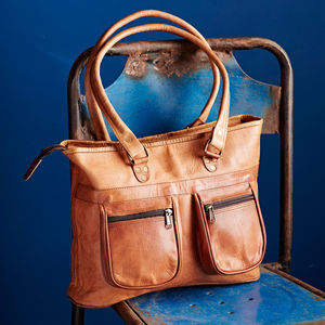 Handmade Leather Pocketed Shoulder Bag - womens