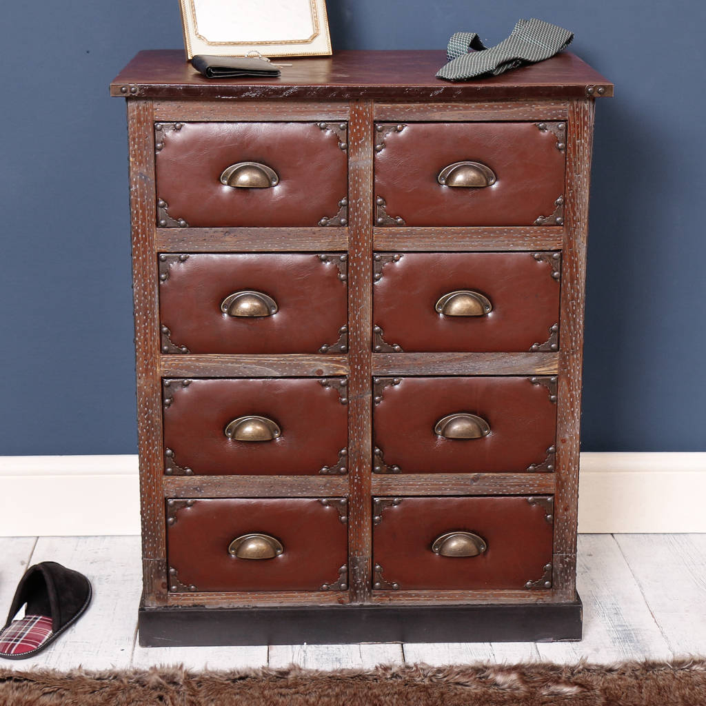 Faux Mahogany And Leather Chest Of Eight Drawers