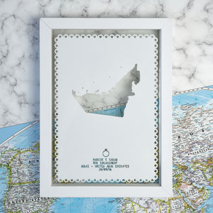 Personalised Engagement Destination Papercut - mixed media & collage