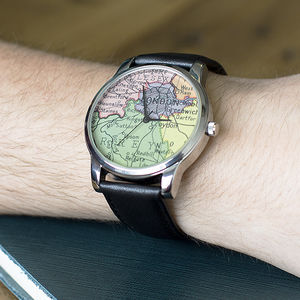 Personalised Silver Map Location Watch - gifts for him sale