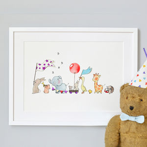 Personalised Animals On Parade Nursery Print - pictures & prints for children
