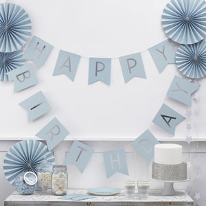 Pastel Blue And Silver Foiled 'Happy Birthday' Bunting - bunting & garlands