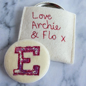 Personalised Embroidered Initial Mirror - gifts for her