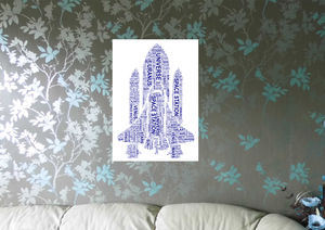 Personalised Space Shuttle Or Spaceman Word Art Print