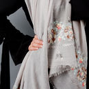 Personalised Embroidered Rose Scarf In Light Grey