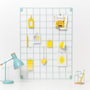 Blue Wire Mesh Memo Board - kitchen