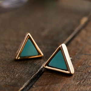 Triangular Gold And Turquoise Stud Earrings - precious gemstones