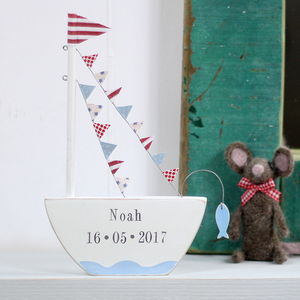 Personalised Standing Boat With Fish