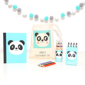 Panda Stationery Set With Personalised Bag
