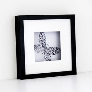 Framed Paper Cut Butterfly Scene