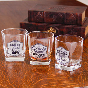 Gents Quarters Set Of Three Whisky Glasses - tumblers & Hiballs