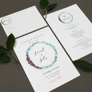 Half Wreath Watercolour Wedding Invitation
