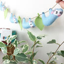 Hand Embroidered Sloth And Jungle Leaves Felt Garland