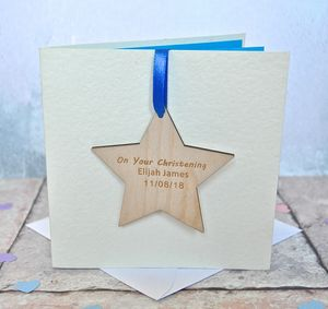 Personalised Christening Wooden Card