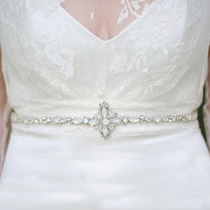 Swarovski Opal Crystal And Rhinestone Bridal Belt - belts
