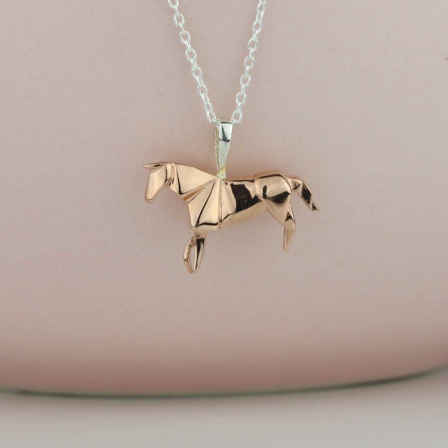 Stunning rose gold origami horse necklace by nest stunning rose gold origami horse necklace aloadofball Images