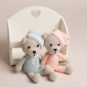 Hand Crochet Teddy With Hat - soft toys & dolls