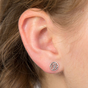 Sterling Silver Tree Of Life Simple Studs