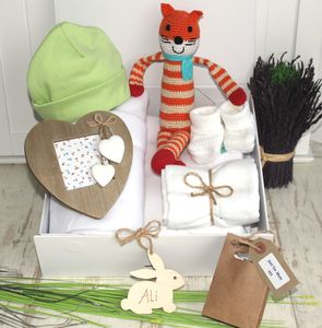 Crochet Fox, Blanket And Booties Baby Hamper - blankets, comforters & throws