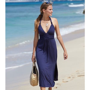 St Tropez Three Quarter Length Halter Dress Navy Blue - kaftans & cover-ups