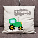 Personalised Tractor And Smoke Cushion Cover