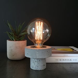 Concrete And Brass Table Lamp - table lamps