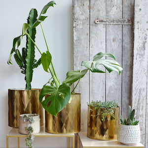 Set Of Three Large Metal Planter Pots
