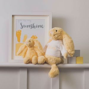 Personalised Lemon Bashful Easter Bunny Soft Toy