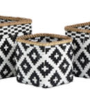 Black And White Circular Bamboo Basket