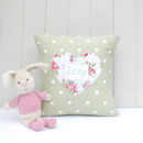 Personalised Keepsake Cushion With Sprig Print Heart
