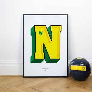 Norwich City Typography Print - limited edition art