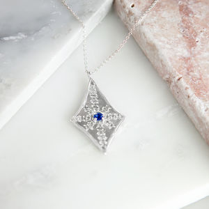 Sapphire And Diamond Teardrop Necklace - necklaces & pendants