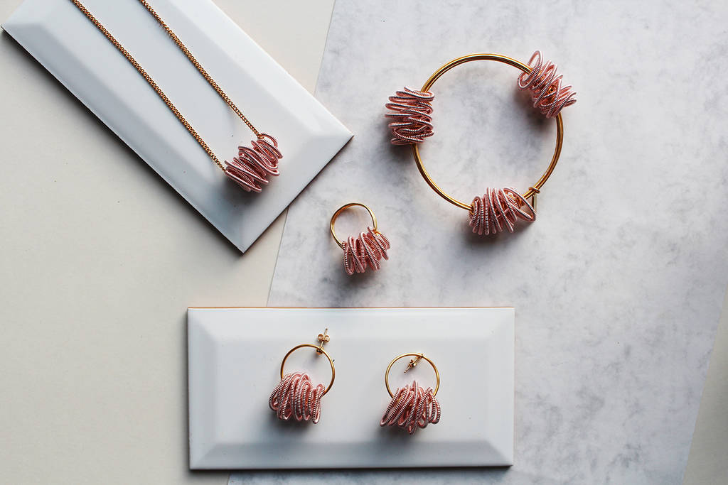 pink coiled wire neptune earrings by black and sigi ...
