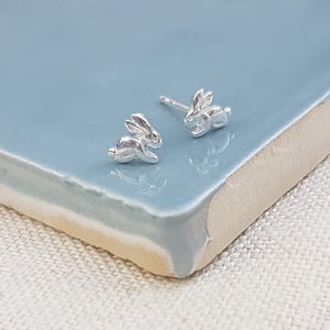 Sterling Silver Bunny Studs - earrings