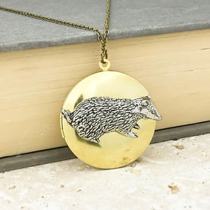 Badger Locket Necklace Pewter & Brass Pendant - jewellery sale