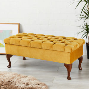 Seville Deep Buttoned Bench Stool - footstools & pouffes