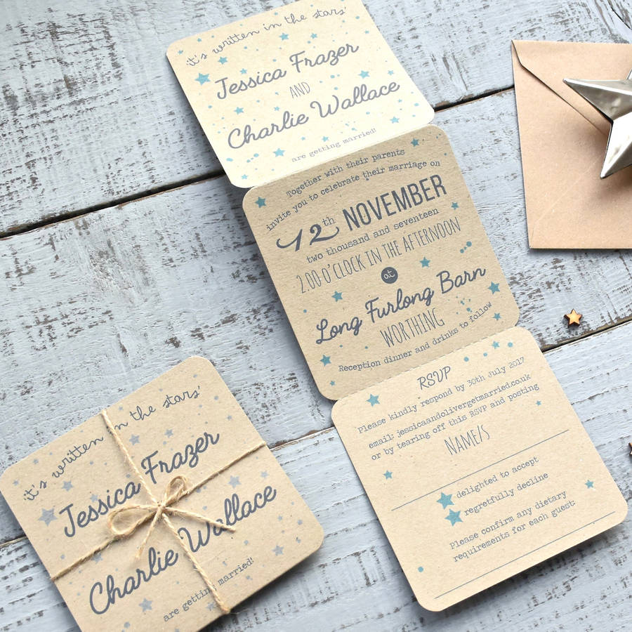 Star Tri Folded Recycled Wedding Invitation star