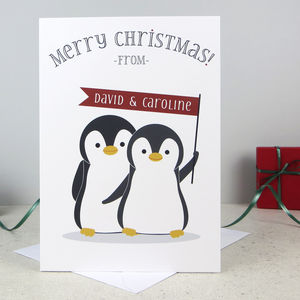 Xmas Penguin Pair Personalised Christmas Card - cards