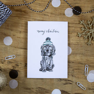 Cocker Spaniel Dog In A Hat Christmas Card - new in christmas