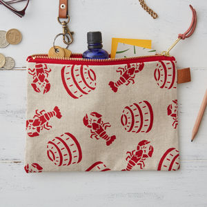 Lobster Pot Nautical Linen Zipped Purse