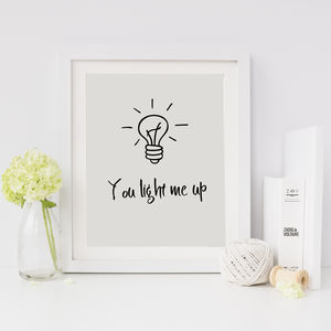 You Light Me Up Valentine's Print - gifts for him