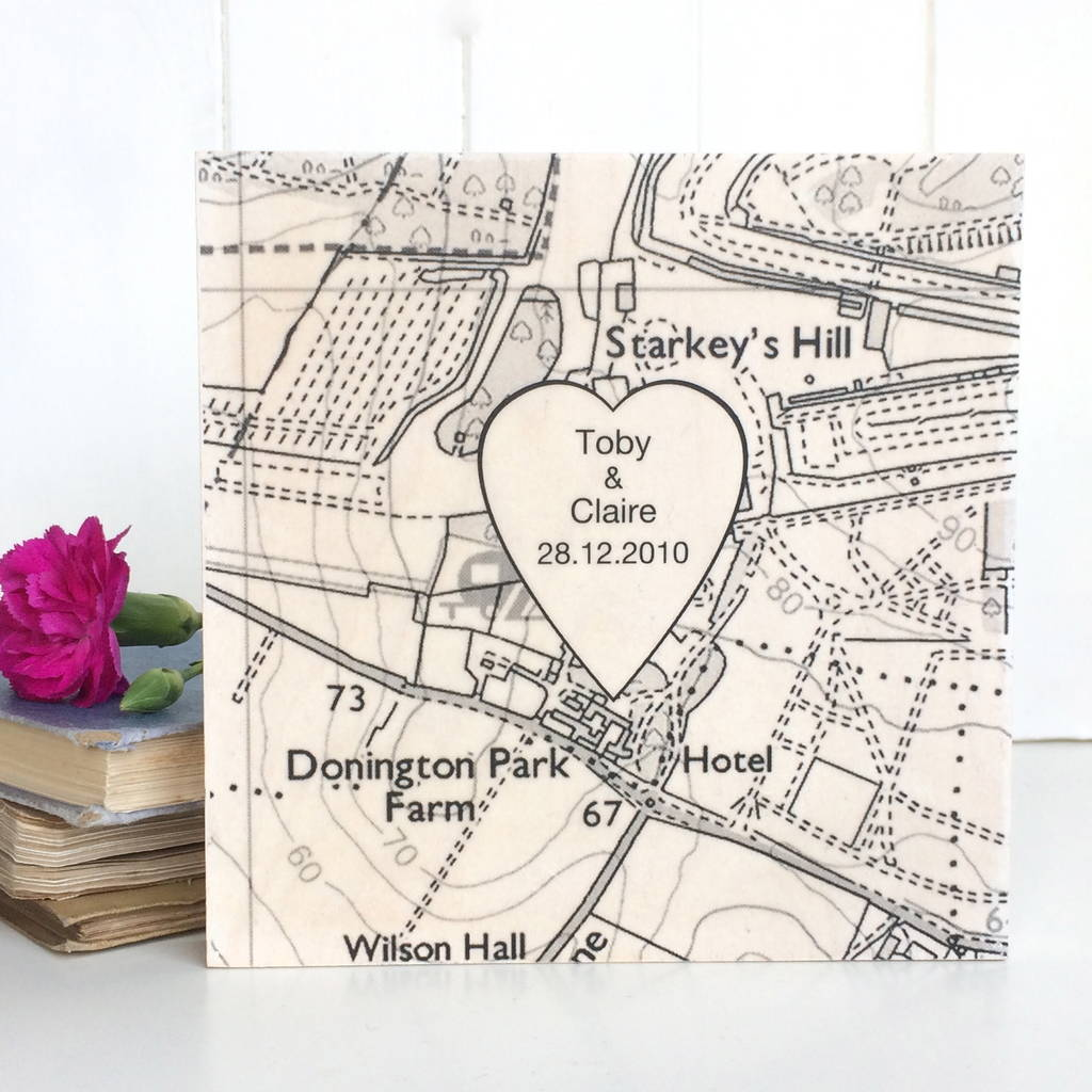 Personalised Wedding Venue Location Map Print On Wood