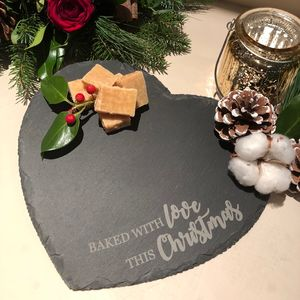 Baked With Love Christmas Slate Heart Serving Plate - kitchen