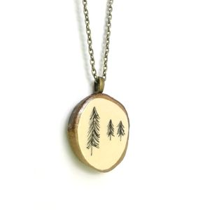 Natural Illustrated Tree Wooden Necklace - necklaces & pendants