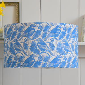 Jays And Acorns Lampshade Block Printed By Hand - lampshades
